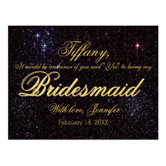 Will You Be My Bridesmaid? Starry Night Postcard