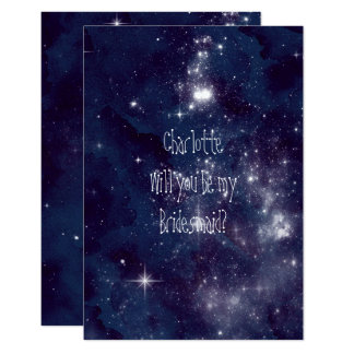 Will You Be My Bridesmaid Startled Night Sky Card