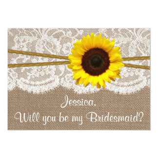 Will You Be My Bridesmaid? Sunflower Rustic Burlap 13 Cm X 18 Cm Invitation Card