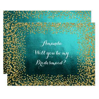 Will You Be My Bridesmaid Teal Vip Gold Confetti 9 Cm X 13 Cm Invitation Card