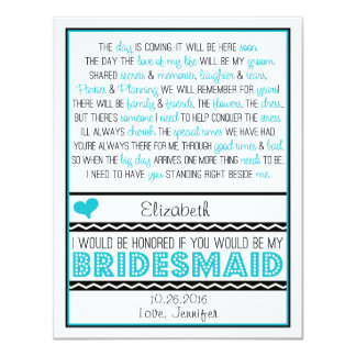 Will you be my Bridesmaid? Turquoise/Black Poem V2 Card