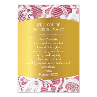 Will You Be My Bridesmaid? Vintage Burlap & Lace 9 Cm X 13 Cm Invitation Card