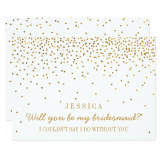 Will You Be My Bridesmaid? Vintage Gold Confetti 13 Cm X 18 Cm Invitation Card