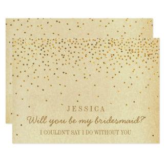 Will You Be My Bridesmaid? Vintage Gold Confetti 13 Cm X 18 Cm Invitation Card