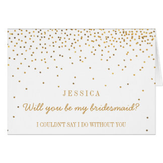 Will You Be My Bridesmaid? Vintage Gold Confetti Card