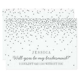Will You Be My Bridesmaid? Vintage Silver Confetti 13 Cm X 18 Cm Invitation Card