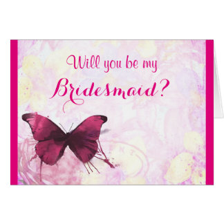 Will you be my bridesmaid watercolor butterfly greeting card