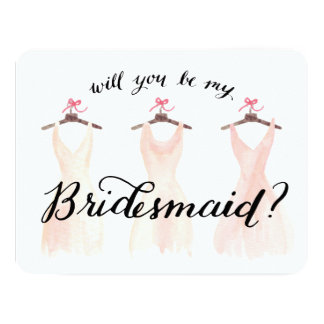 Will You Be My Bridesmaid Watercolor Dresses Peach Custom Announcement Card