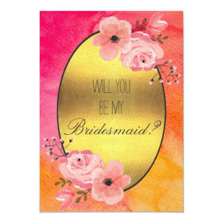 Will You Be My Bridesmaid Watercolor Flowers Card