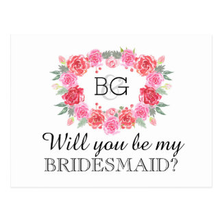 Will you be my bridesmaid watercolor postcard