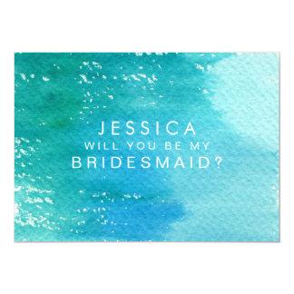 Will You Be My Bridesmaid Watercolor Wash 13 Cm X 18 Cm Invitation Card