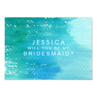 Will You Be My Bridesmaid Watercolor Wash Card