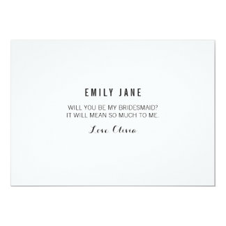 Will You Be My Bridesmaid? White Invitation Card