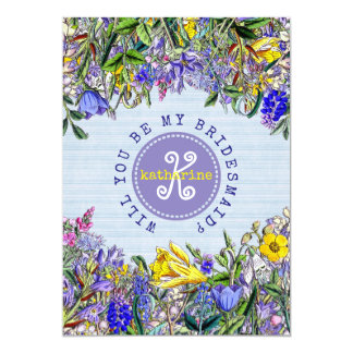 Will You Be My Bridesmaid Wildflowers Invitation