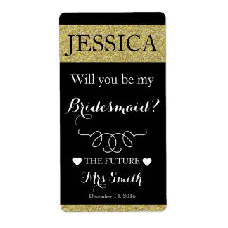 Will you be my bridesmaid wine bottle label shipping label