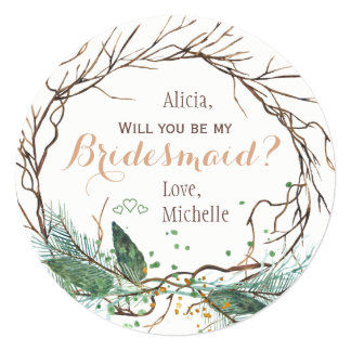 Will you be my bridesmaid winter modern branches card