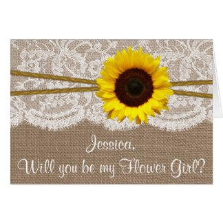 Will You Be My Flower Gir? Sunflower Rustic Burlap Card