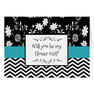 Will you be my Flower Girl Blue and Black Card
