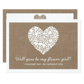 Will You Be My Flower Girl? Burlap Heart Card 13 Cm X 18 Cm Invitation Card