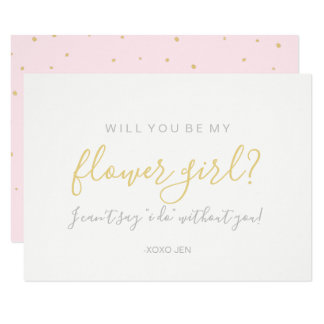 Will You Be My Flower Girl Card - Gold Dots Pink