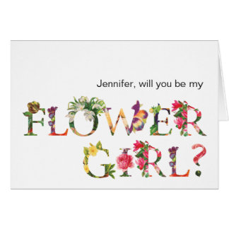 Will you Be my Flower Girl Cute Floral Typography Card