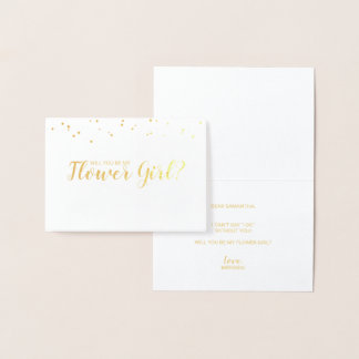 Will You Be My Flower Girl? Elegant Confetti Gold Foil Card
