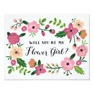 Will You Be My Flower Girl Floral 11 Cm X 14 Cm Invitation Card