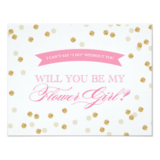 Will You Be My Flower Girl Gold Confetti Card