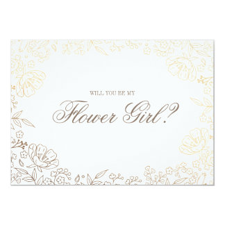 Will You Be My Flower Girl | Gold White Floral Card
