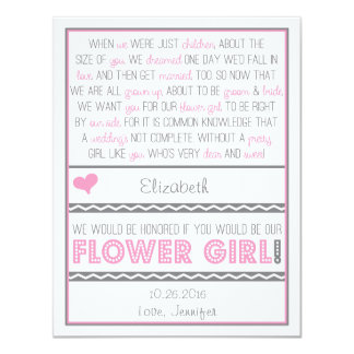 Will you be my Flower girl? Pink/Gray Poem Card