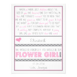 Will you be my Flower girl? Pink/Grey Poem Card Personalised Invite