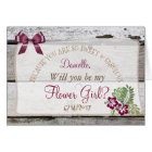 Will you be my Flower Girl Rustic Burgundy Card