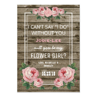 Will you be my Flower Girl | Rustic Vintage 13 Cm X 18 Cm Invitation Card