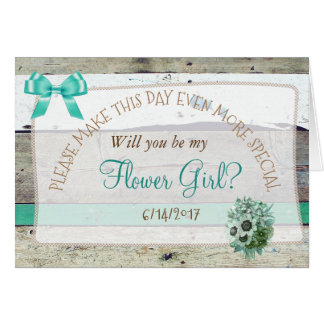 Will you be my Flower Girl Rustic Wood Card