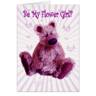 Will you be my Flower Girl, teddy bear wedding Card