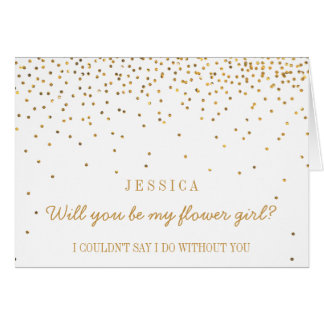 Will You Be My Flower Girl Vintage Gold Confetti Greeting Card