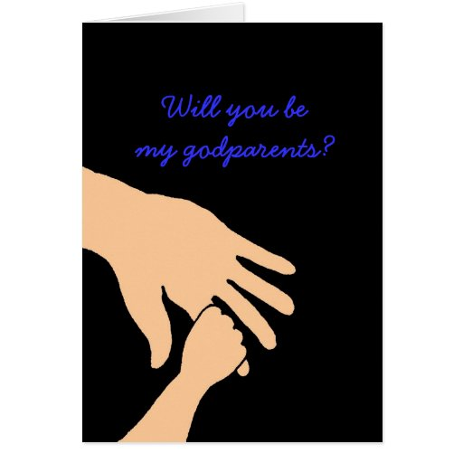 will you be my godparents card in blue