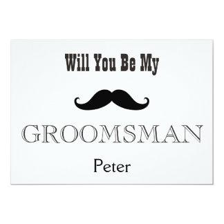 Will You Be My Groomsman Black Mustache Card