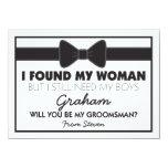 Will You Be My Groomsman Black/White Bow Tie 11 Cm X 16 Cm Invitation Card