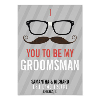 Will you be my Groomsman Geek Glasses invite