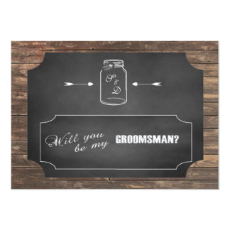 Will You Be My Groomsman? Mason Jar Chalkboard Card