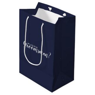 Will You Be My Groomsman? Modern Script Navy Blue Medium Gift Bag
