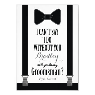 Will You Be My Groomsman - Tuxedo Tie Braces 11 Cm X 16 Cm Invitation Card