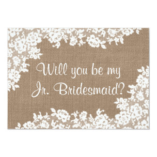 Will You Be My Jr. Bridesmaid Rustic Burlap & Lace 13 Cm X 18 Cm Invitation Card