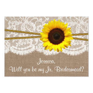 Will You Be My Jr. Bridesmaid? Rustic Sunflower 13 Cm X 18 Cm Invitation Card