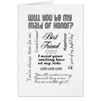 Will You Be My Maid of Honor, Best Friend? Card