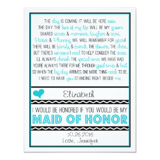 Will you be my Maid of Honor? Blue/Black Poem V2 4.25x5.5 Paper Invitation Card
