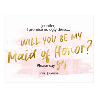 Will you be my Maid of Honor Blush Gold Watercolor Postcard