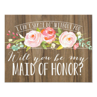 Will You Be My Maid of Honor | Bridesmaid 11 Cm X 14 Cm Invitation Card