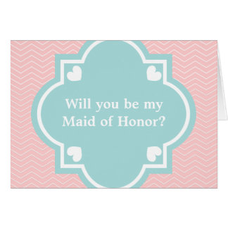 Will you be my maid of honor card | coral chevron